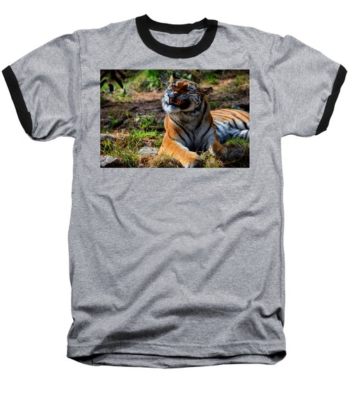 Baseball T-Shirt featuring the mixed media Amur Tiger 6 by Angelina Vick