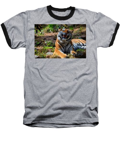 Baseball T-Shirt featuring the mixed media Amur Tiger 7 by Angelina Vick
