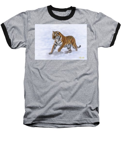 Baseball T-Shirt featuring the photograph Amur Tiger Running In Snow by Rikk Flohr