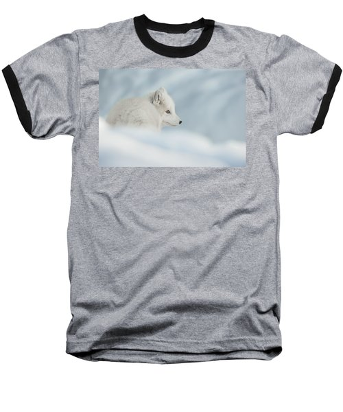 An Arctic Fox In Snow. Baseball T-Shirt