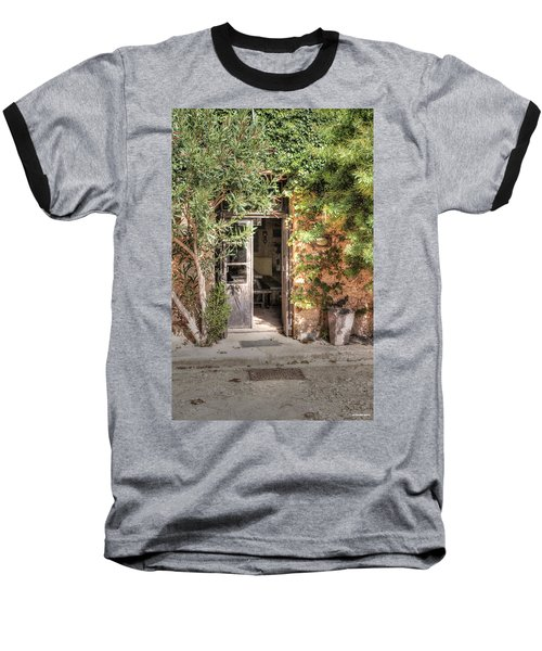 Baseball T-Shirt featuring the photograph An Entrance In Santorini by Tom Prendergast