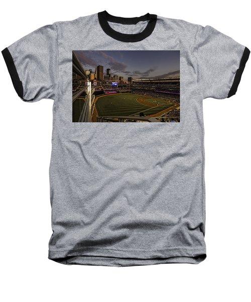 Baseball T-Shirt featuring the photograph An Evening At Target Field by Tom Gort