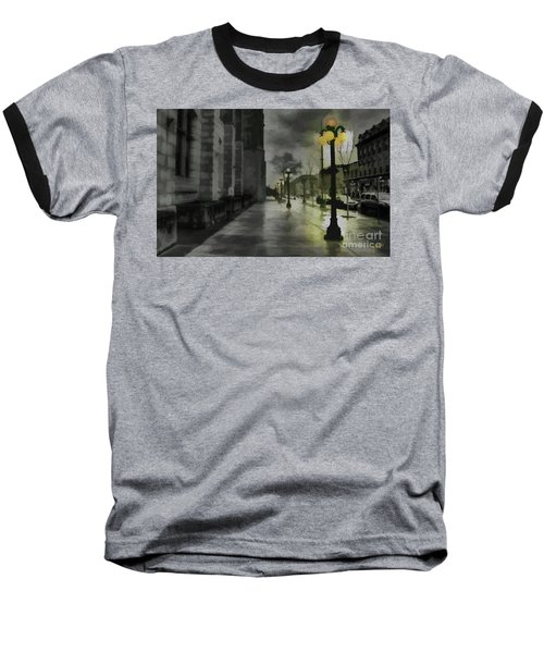 Baseball T-Shirt featuring the mixed media An Evening In Paris by Jim  Hatch
