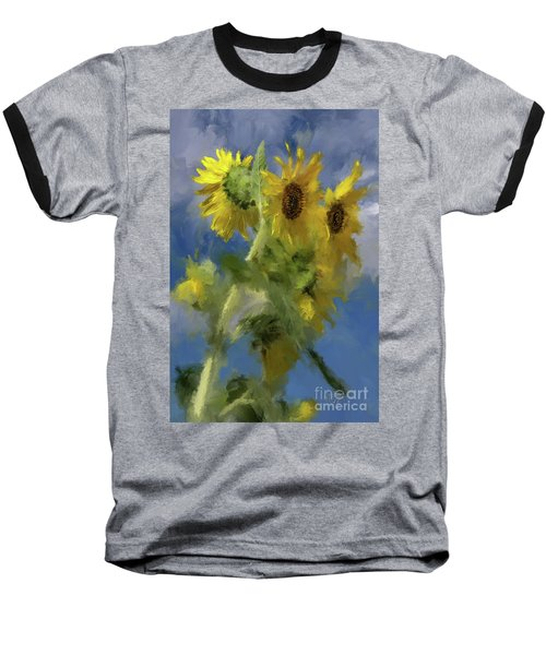 Baseball T-Shirt featuring the photograph An Impression Of Sunflowers In The Sun by Lois Bryan