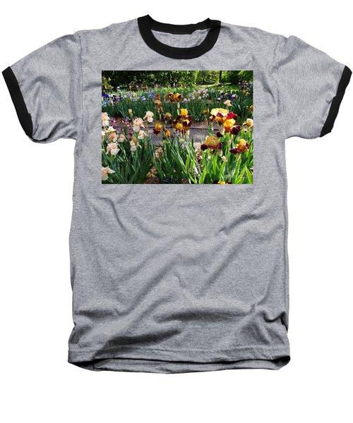 Baseball T-Shirt featuring the photograph An Iris Party by Nancy Kane Chapman