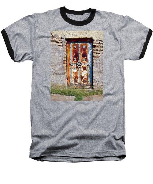 An Old Rusty Door In Katakolon Greece Baseball T-Shirt by Richard Rosenshein