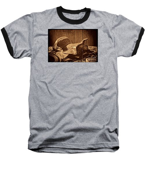 An Old Saddle Baseball T-Shirt by American West Legend By Olivier Le Queinec