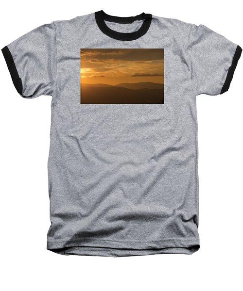 An Orange Vermont Sunset Baseball T-Shirt