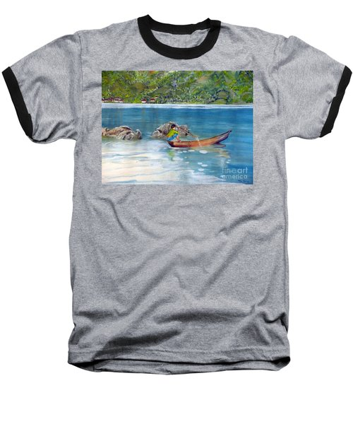 Baseball T-Shirt featuring the painting Anak Dan Perahu by Melly Terpening