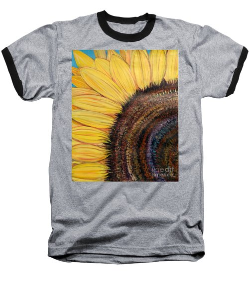 Baseball T-Shirt featuring the painting Anatomy Of A Sunflower by Ecinja Art Works