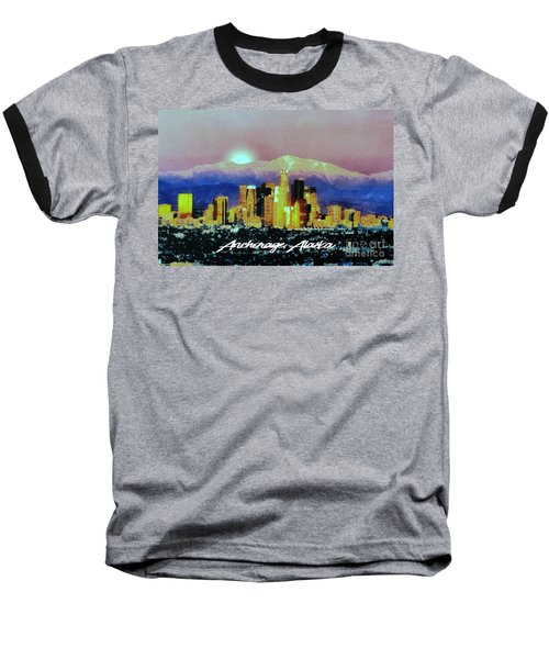 Baseball T-Shirt featuring the digital art Anchorage-subdued by Elaine Ossipov