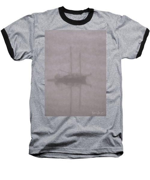 Anchored In Fog #1 Baseball T-Shirt by Wally Hampton