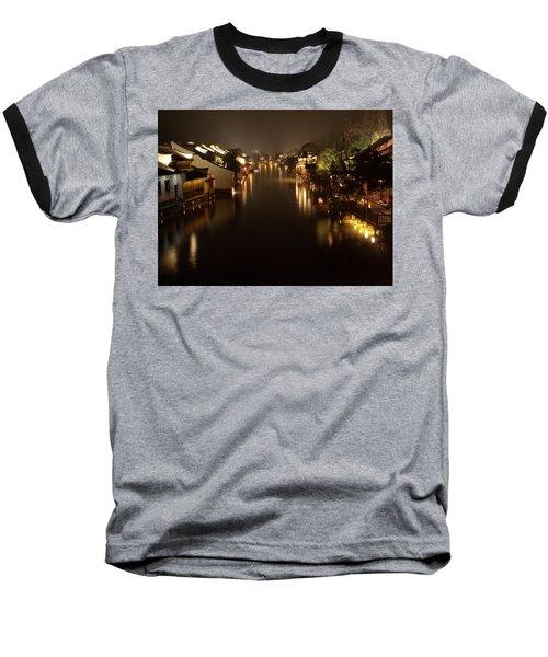 Ancient Chinese Water Town Baseball T-Shirt by Andrew Soundarajan