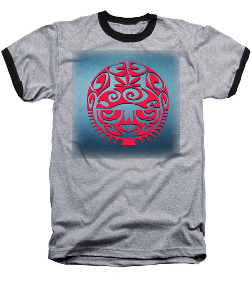 Ancient Tribal Red Mask Baseball T-Shirt
