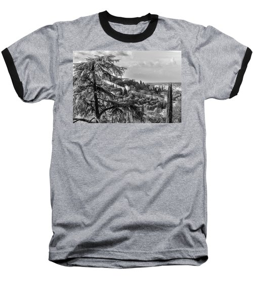 Ancient Walls Of Florence-bandw Baseball T-Shirt by Sonny Marcyan