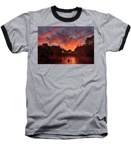 And The Day Begins Baseball T-Shirt by Robert Charity