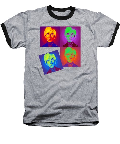 Andy Warhol On Andy Warhol Baseball T-Shirt by Rob Snow