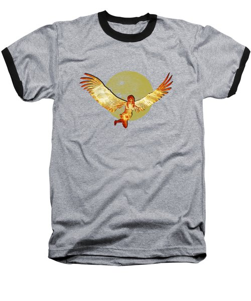 Angel And The Moon Baseball T-Shirt by Ericamaxine Price