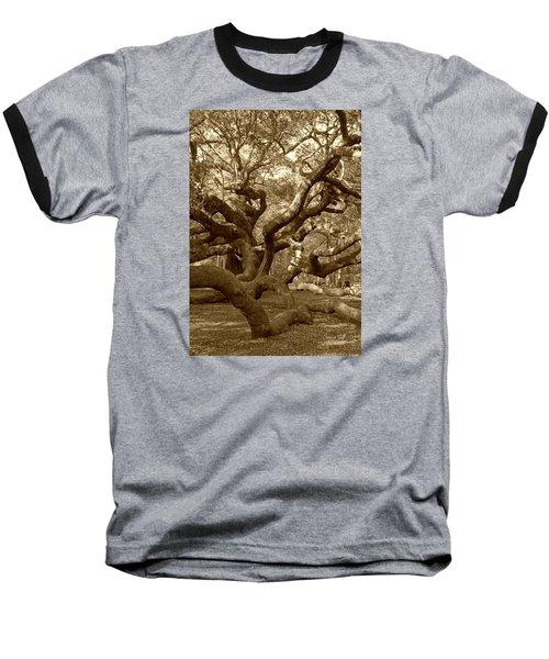 Angel Oak In Sepia Baseball T-Shirt by Suzanne Gaff