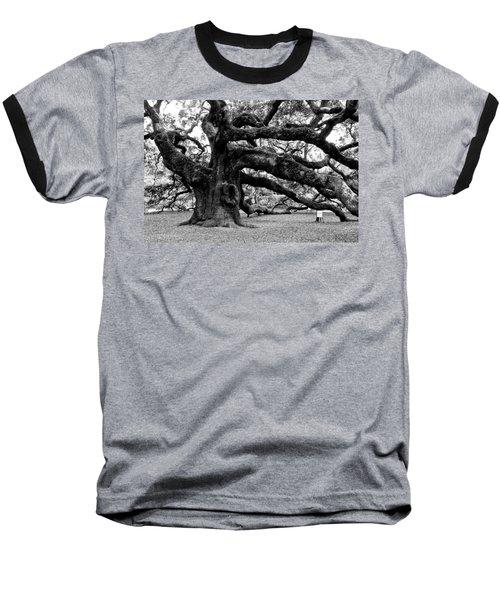 Angel Oak Tree 2009 Black And White Baseball T-Shirt