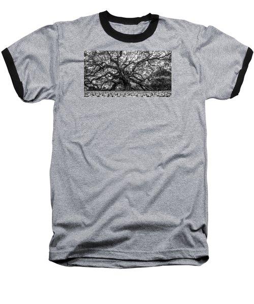Angel Oak Tree Black And White  Baseball T-Shirt