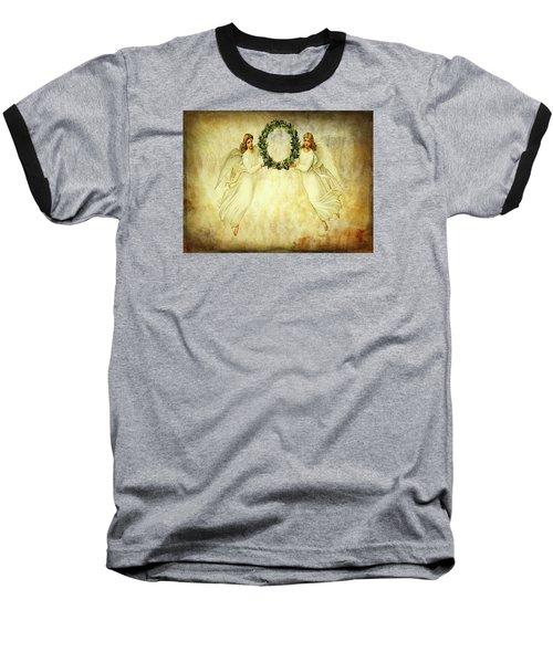 Angels Christmas Card Or Print Baseball T-Shirt by Bellesouth Studio
