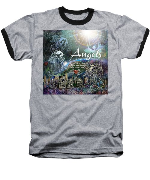 Baseball T-Shirt featuring the digital art Angels by Evie Cook
