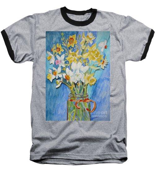 Angels Flowers Baseball T-Shirt by Jan Bennicoff