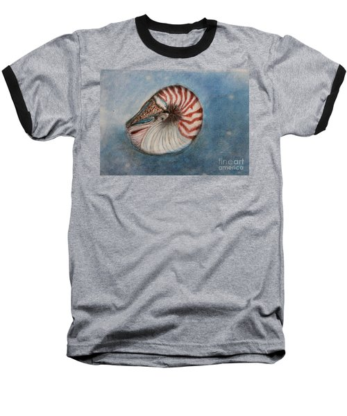 Baseball T-Shirt featuring the painting Angel's Seashell  by Kim Nelson