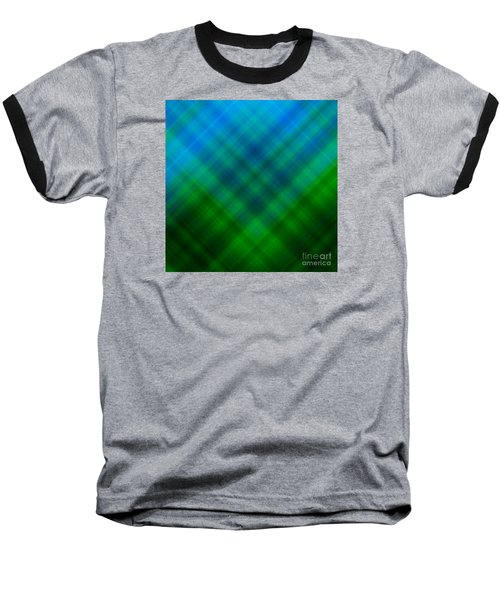 Angled Blue Green Plaid Baseball T-Shirt