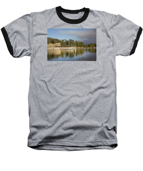 Angler Amidst Gorgeous Surroundings And A Calm River In The Yellowstone In Wyoming Baseball T-Shirt