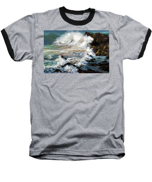 Angry Sea Baseball T-Shirt by Walter Fahmy