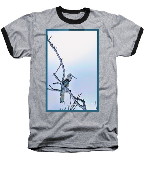 Anhinga In Blue Baseball T-Shirt