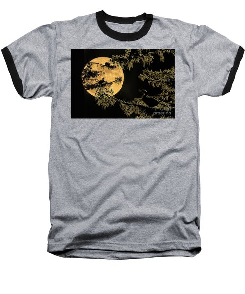 Anhingas In Full Moon Baseball T-Shirt by Bonnie Barry