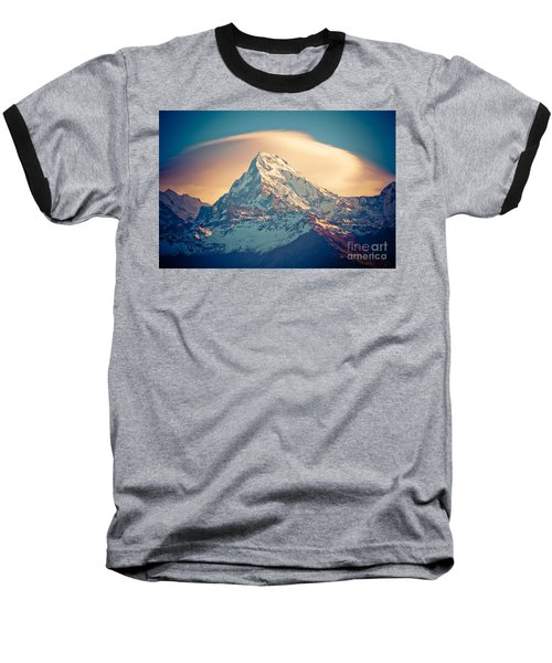 Annapurna Sunrise Himalayas Mountains Baseball T-Shirt