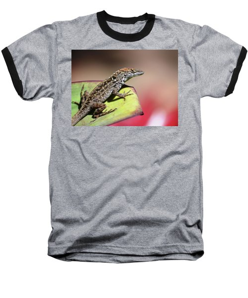 Anole In Rose Baseball T-Shirt