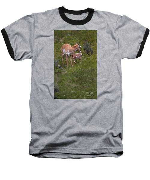 Antelope And Baby-signed-#3576 Baseball T-Shirt by J L Woody Wooden
