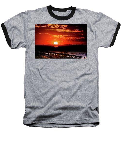 Antelope Island Marina Sunset Baseball T-Shirt