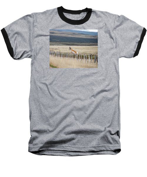 Baseball T-Shirt featuring the photograph Antelope Jumping Fence 1 by Rebecca Margraf
