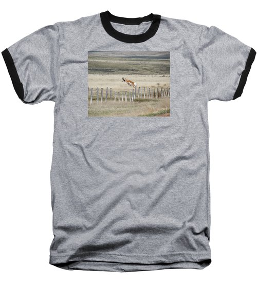 Baseball T-Shirt featuring the photograph Antelope Jumping Fence 2 by Rebecca Margraf