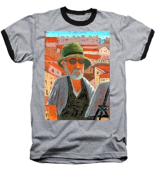 Baseball T-Shirt featuring the painting Antibes Self by Gary Coleman