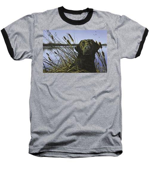 Anticipation - Black Lab Baseball T-Shirt