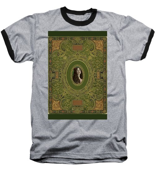 Antique Book Cover With Cameo - Green And Gold Baseball T-Shirt by Peggy Collins