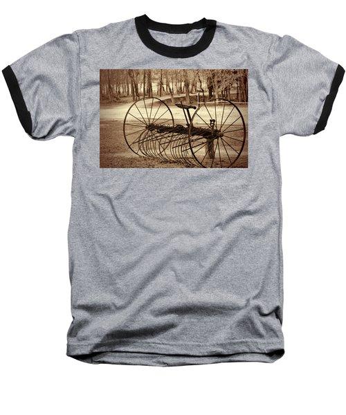 Antique Farm Rake In Sepia Baseball T-Shirt