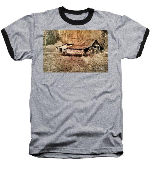 Antique Log Beam Barn Southern Indiana Baseball T-Shirt by Scott D Van Osdol