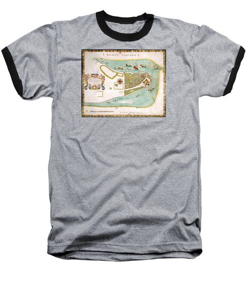 Antique Map Of Manhattan New York 1664 Baseball T-Shirt
