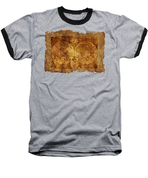 Baseball T-Shirt featuring the digital art Antique Map Of The World by Ericamaxine Price