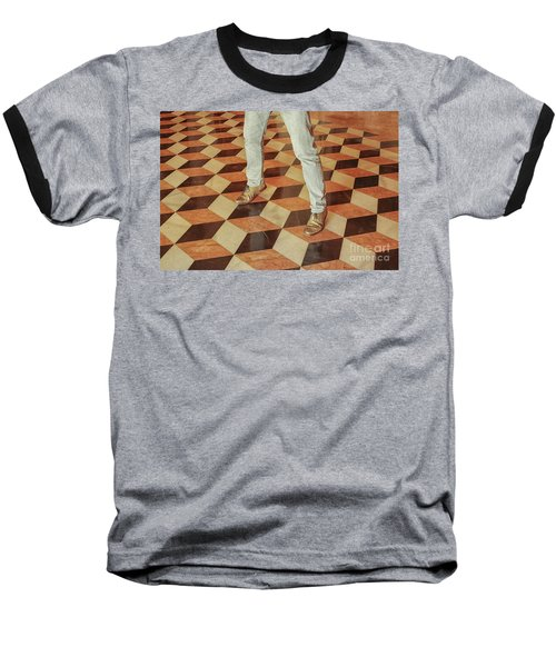 Baseball T-Shirt featuring the photograph Antique Optical Illusion Floor Tiles by Patricia Hofmeester