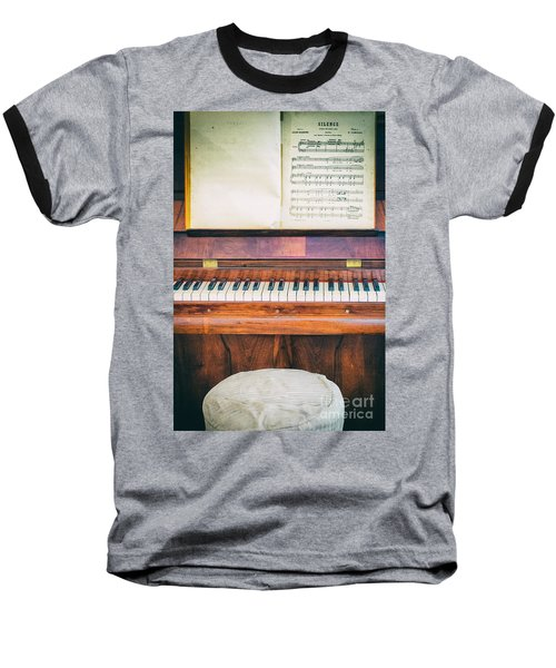 Baseball T-Shirt featuring the photograph Antique Piano And Music Sheet by Silvia Ganora
