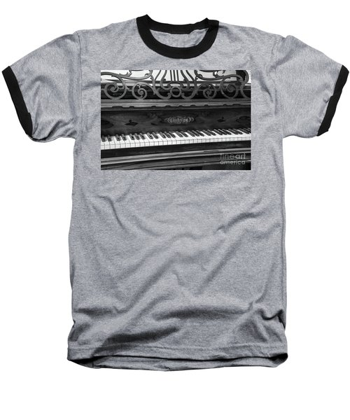 Antique Piano Black And White Baseball T-Shirt